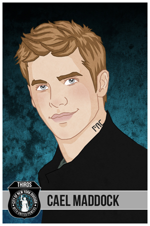 Illustration of a young man with light brown hair, gray eyes, dark gray shirt against a blue textures background with law enforcement logo on the bottom left hand side.