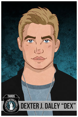 illustration of a young man with dirty blond hair, blue eyes, a dark jacket and blue shirt with dog tag chain. Bottom left graphics of police shield with image of justice statue, white lettering saying THIRDS, City of New York Division
